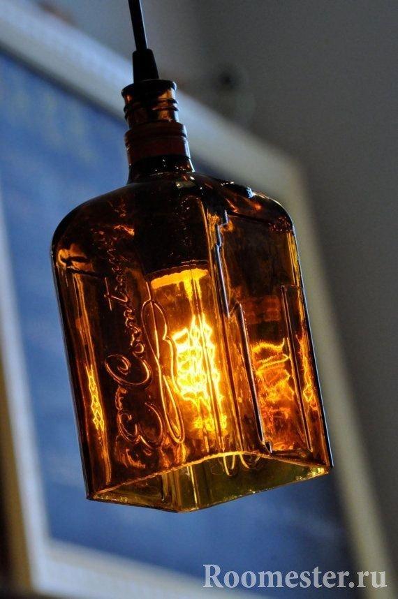 Плафон под лампу из бутылки