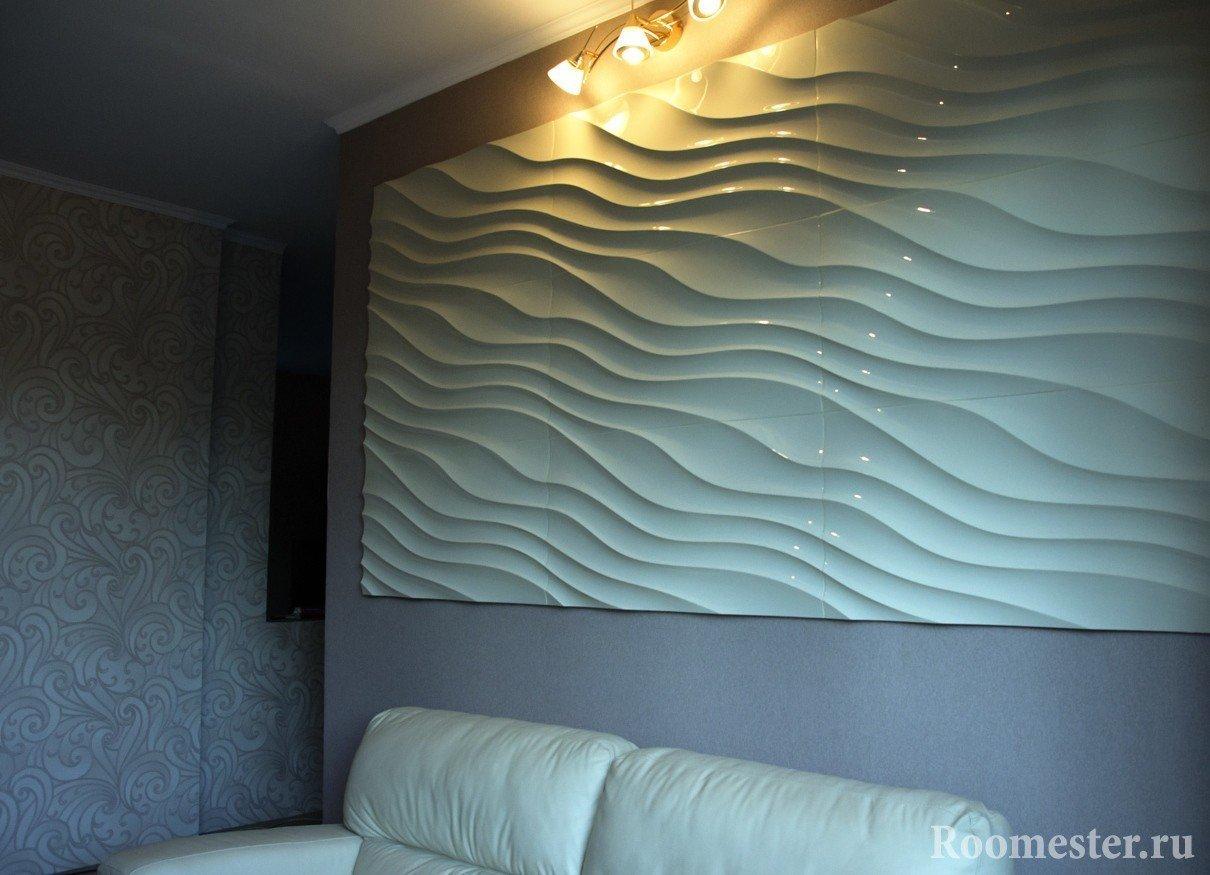 3Д панель в гостиной