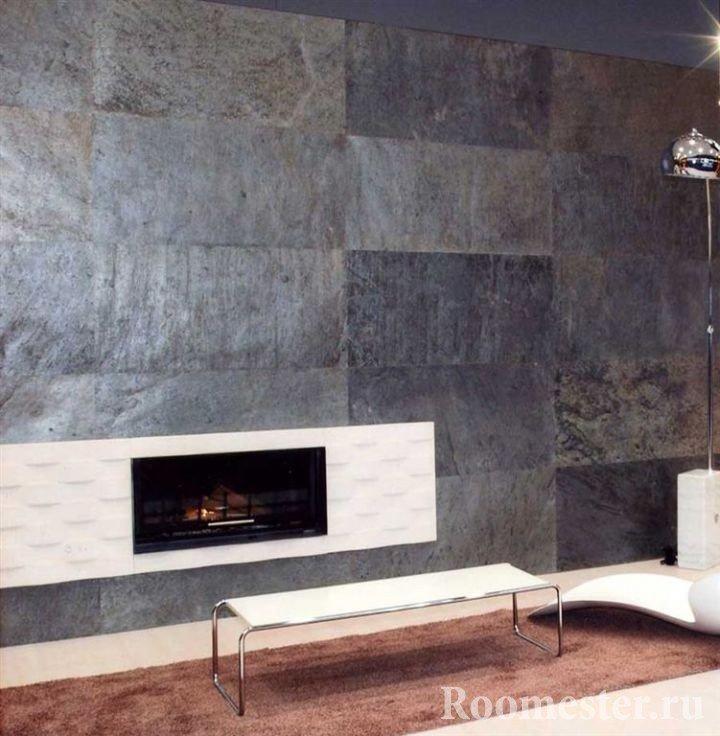 Каменный шпон на стене