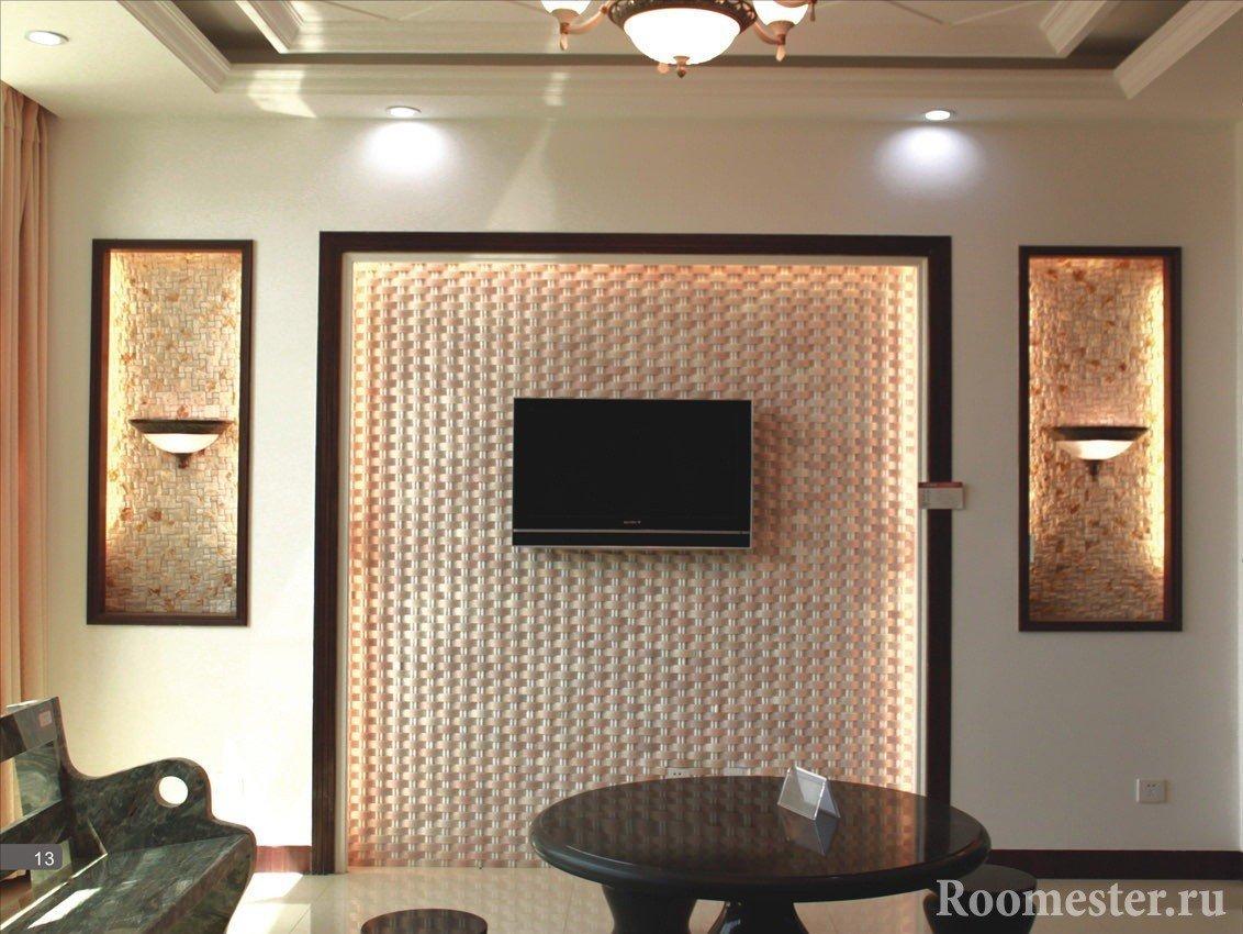 Телевизор на стене из панелей