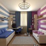 Зонирование с помощью разных цветов стен