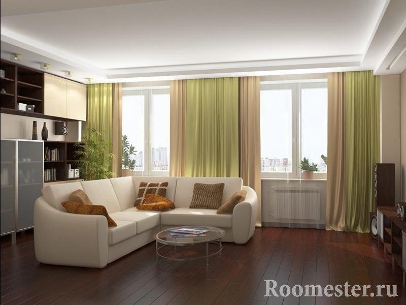 Интерьер гостиной 19 кв.м с двумя окнами фото