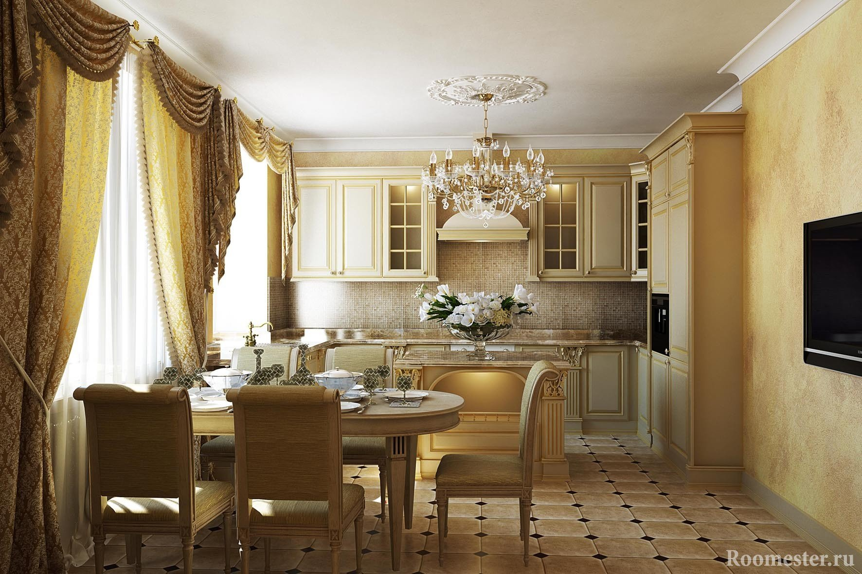 Классическая кухня со столовой