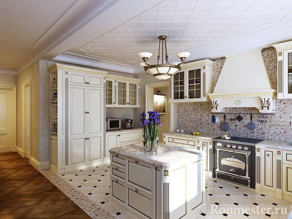 Дизайн классической кухни объединенной с залом