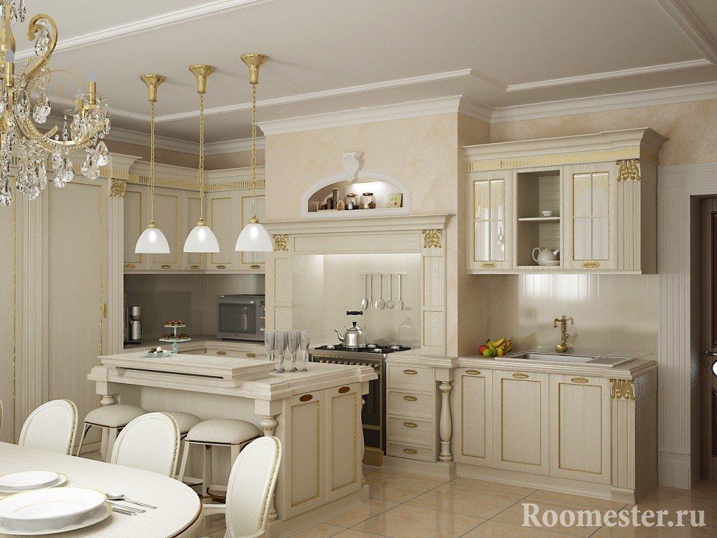 Белая кухня с позолоченной отделкой фасадов