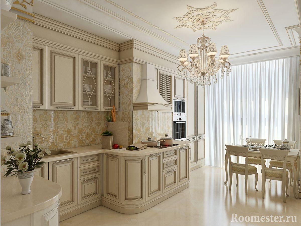 Глянцевый пол на кухне