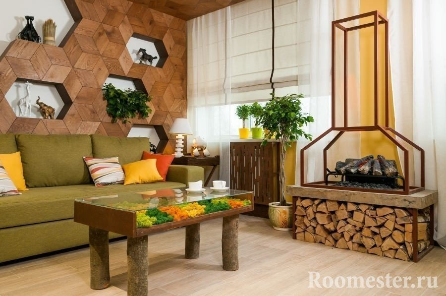 Экостиль в интерьере гостиной комнаты