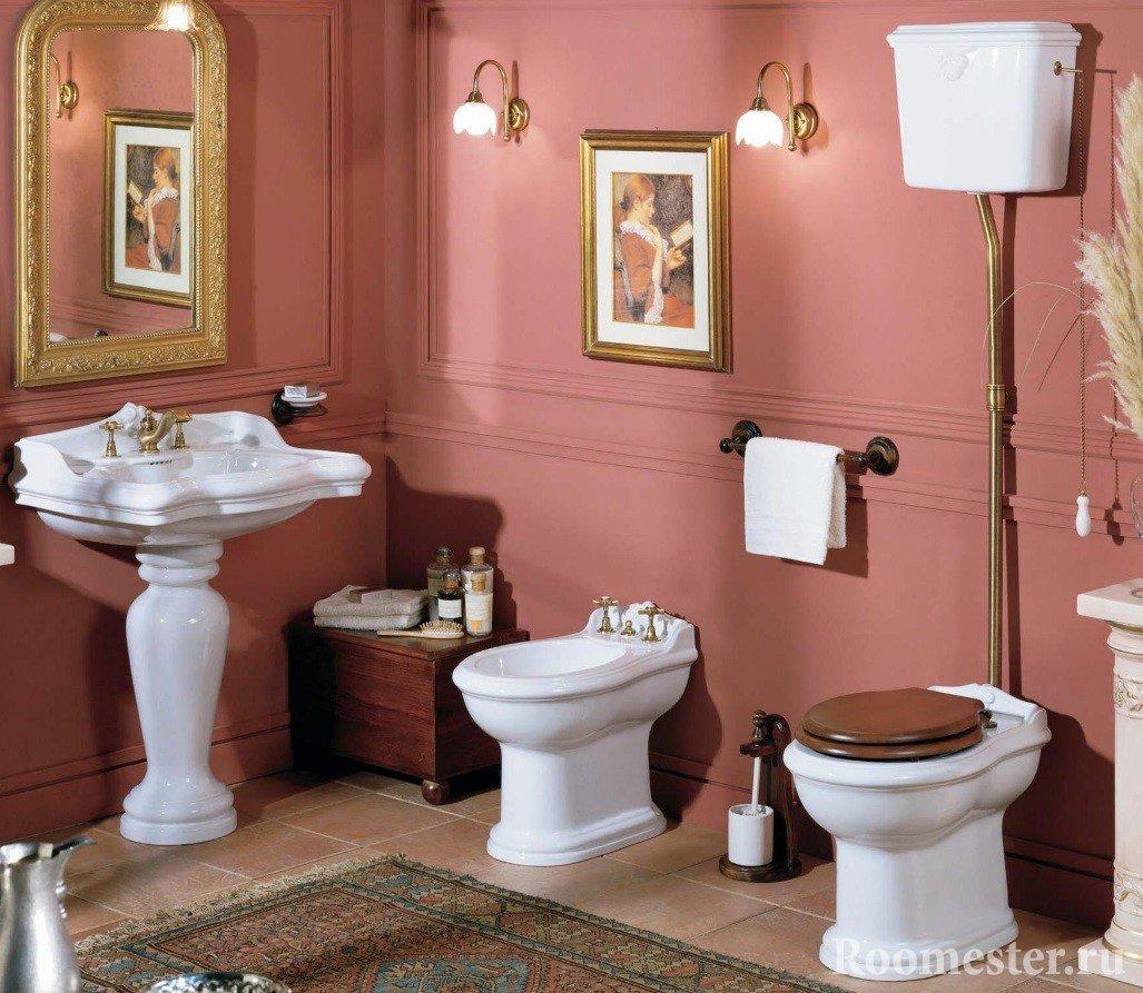 Ванная комната с унитазом и биде