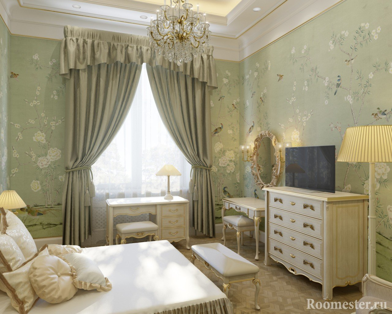 Спальная комната - дизайн в классическом стиле