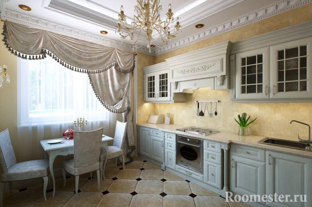 Кухня в классическом стиле с багетами на потолке