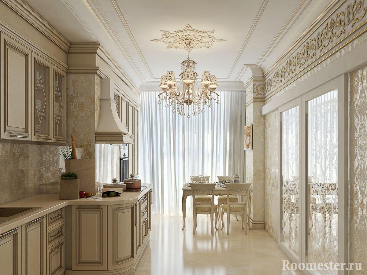 Кухня с раздвижными дверями в гостиную