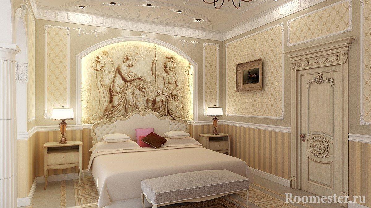 Спальня с панно на стене