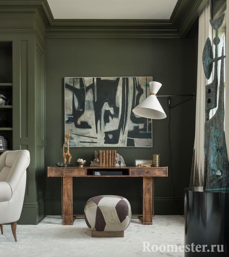 Оливковый цвет и деревянная мебель