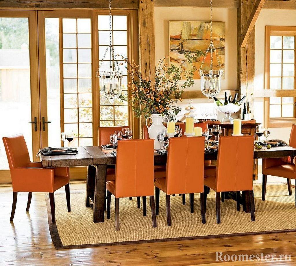 Темно-оранжевые кресла