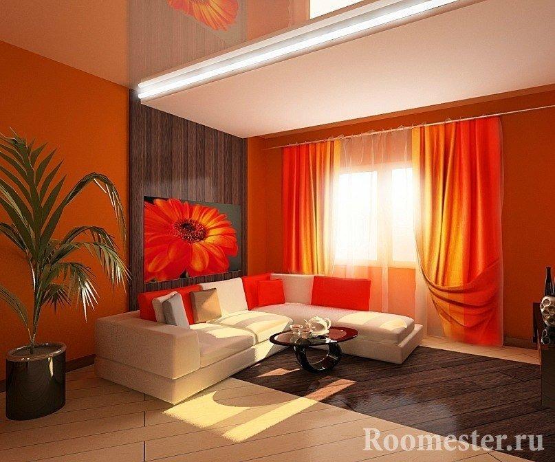 Ярко-оранжевый цвет в интерьере
