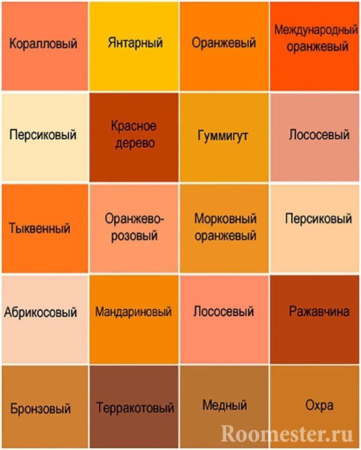 Таблица оттенков оранжевого цвета