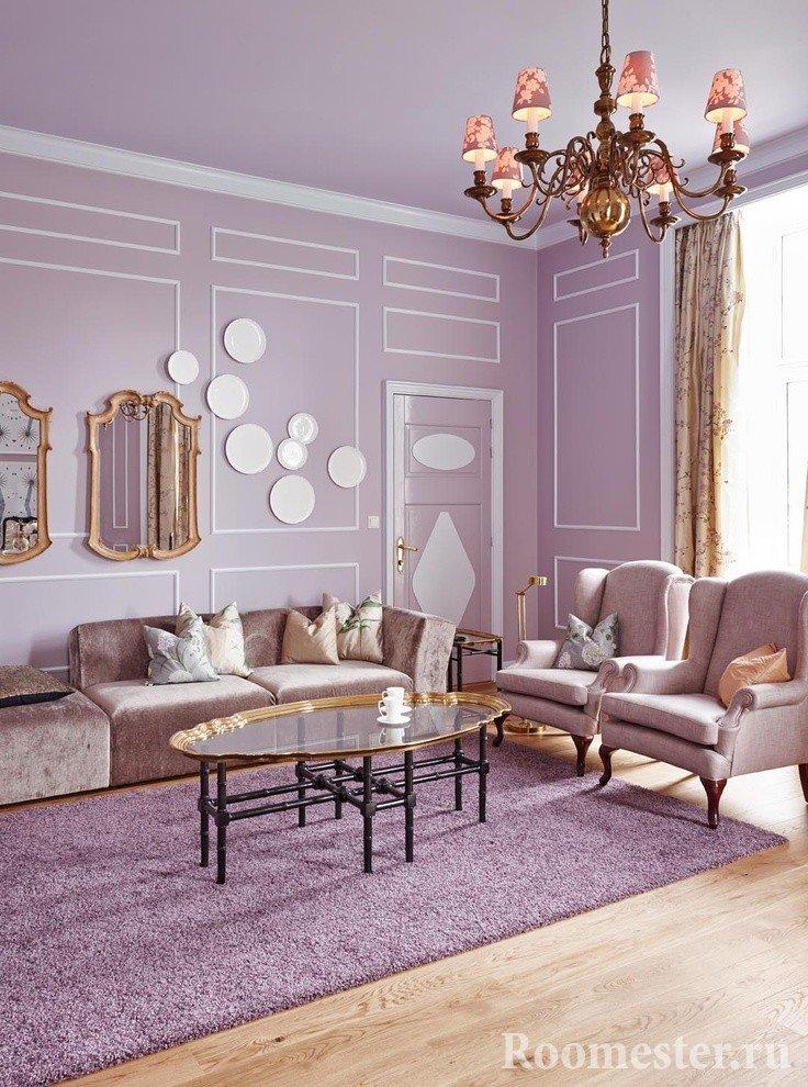 Мягкий сиреневый цвет в гостиной