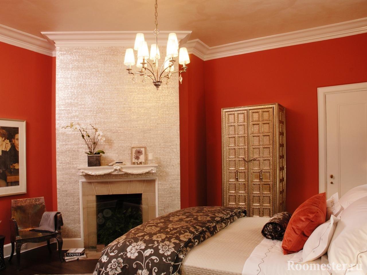 Белый и красный в спальне