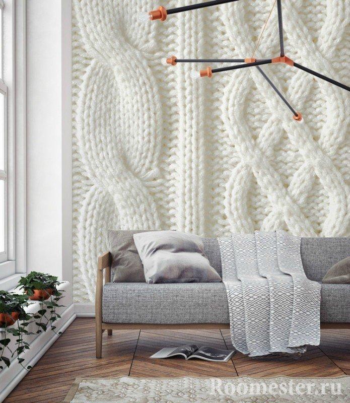 Стена с вязаной отделкой