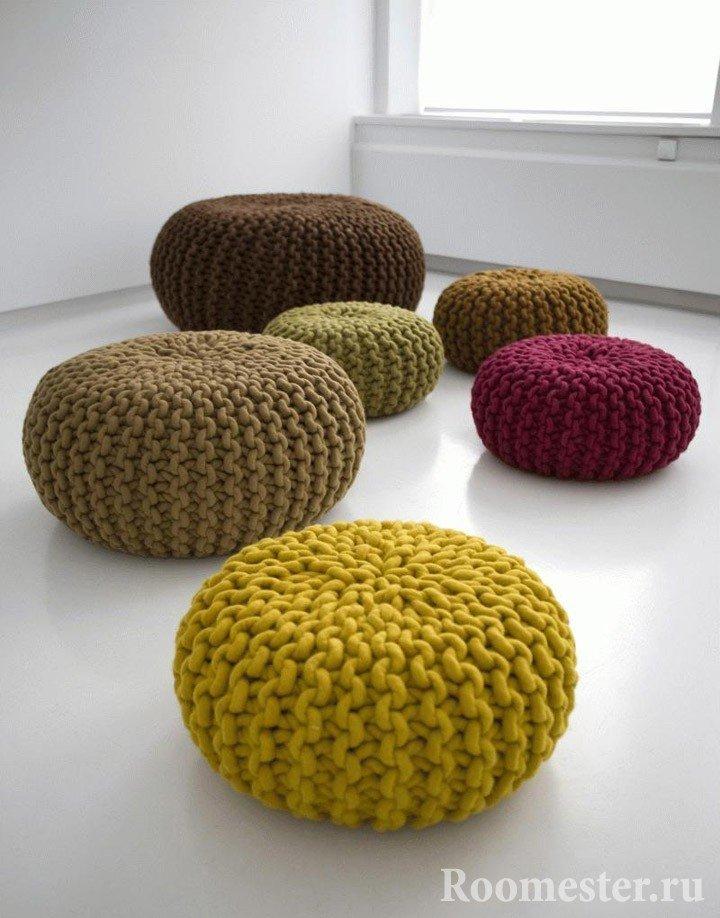 Пуфы с крупным вязанием