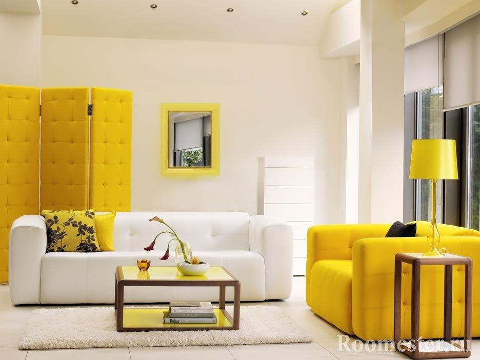 Белый и желтый цвет в интерьере