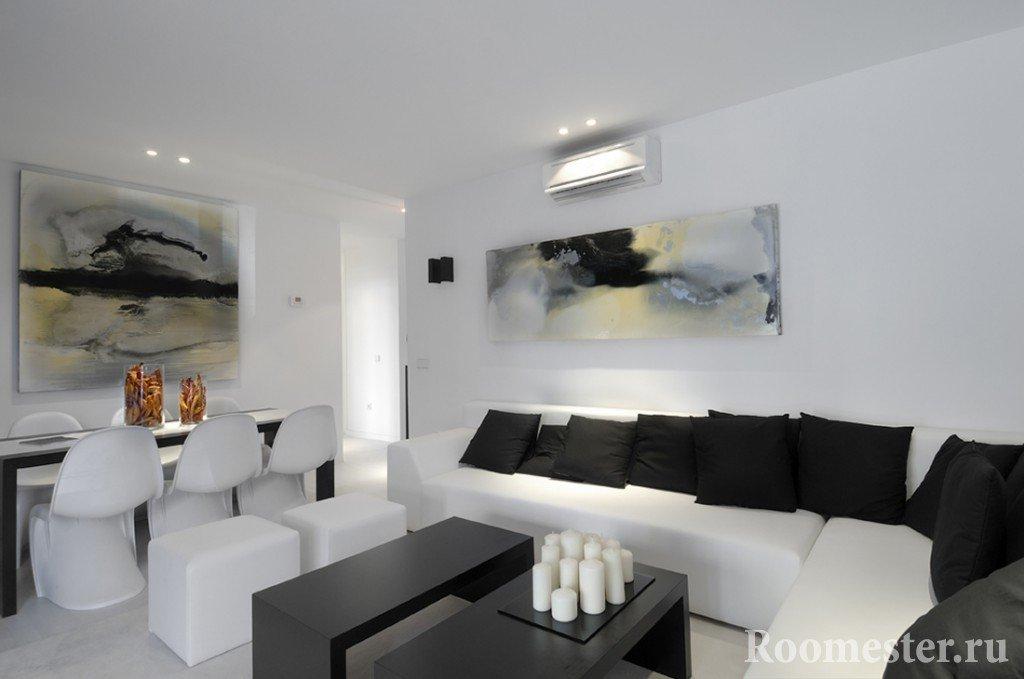 Белая комната с черными элементами декора