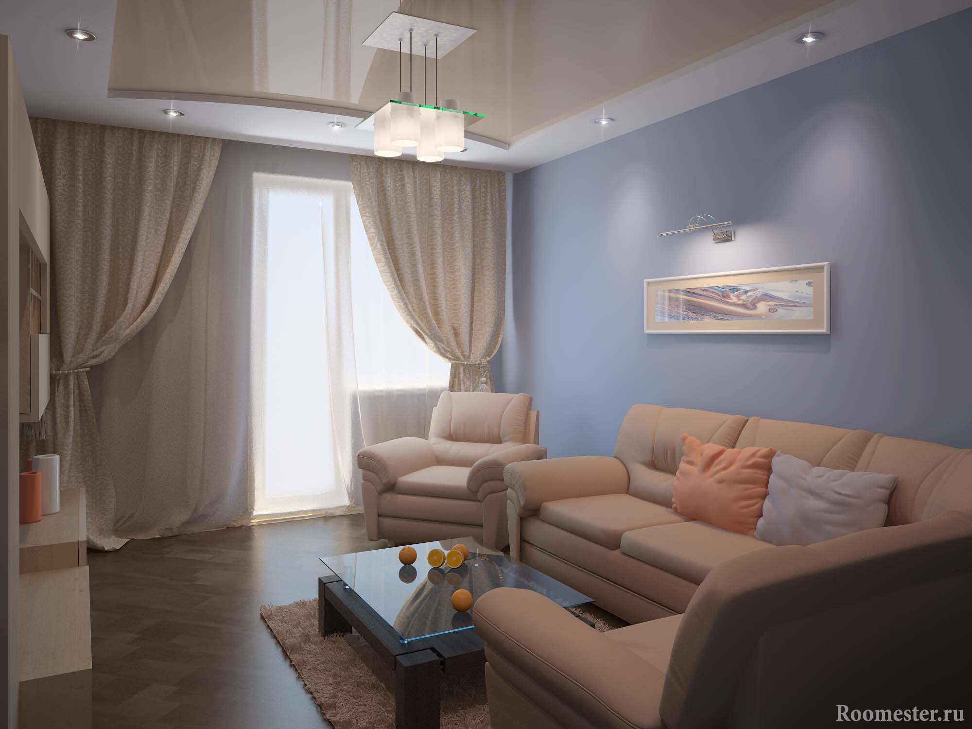 Гостиная с натяжными потолками