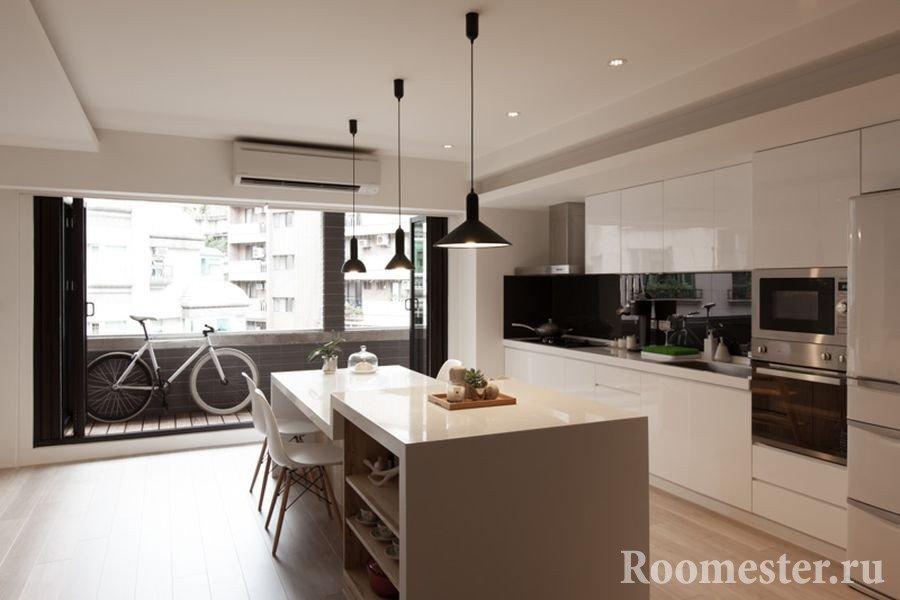 Интерьер современной кухни с балконом