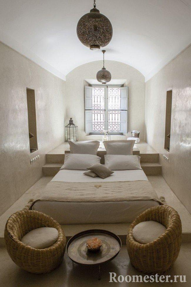 Зонирование в спальне с ванной