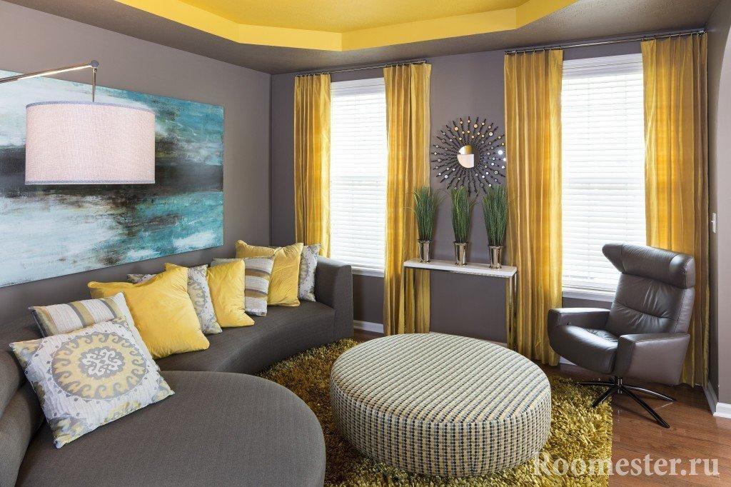 Желто-серый интерьер зала