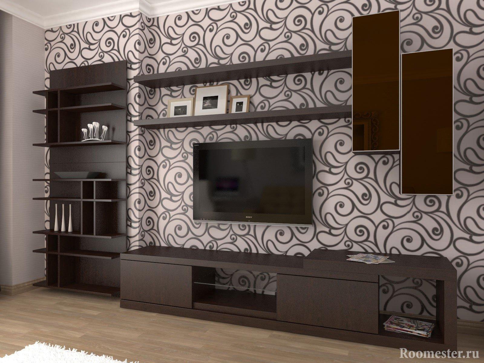 дизайн стенки в зал в квартире фото