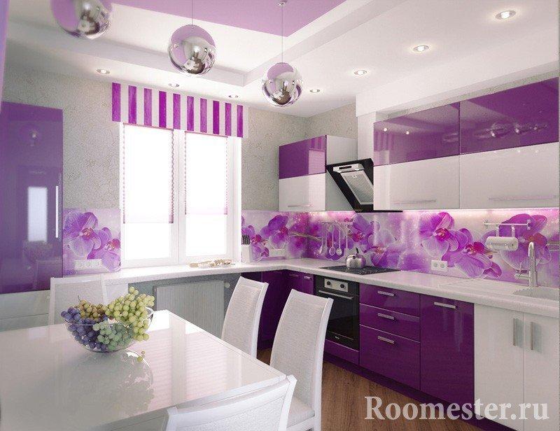 Сиреневый цвет в кухонном гарнитуре