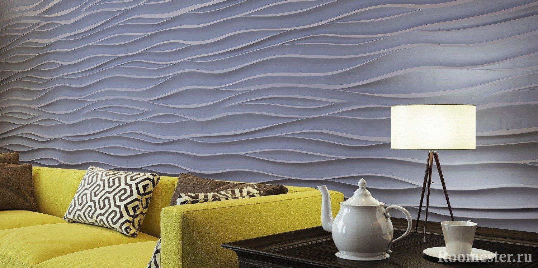 3д панели на стене в гостиной комнате