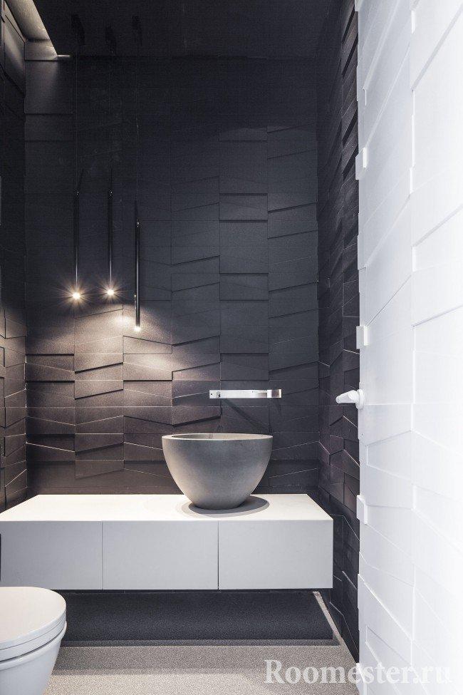 Пример облицовки ванной комнаты 3d панелями