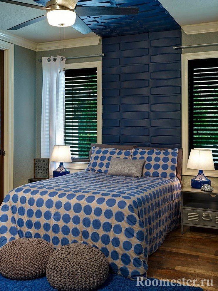 Изголовье кровати с отделкой 3д панелями