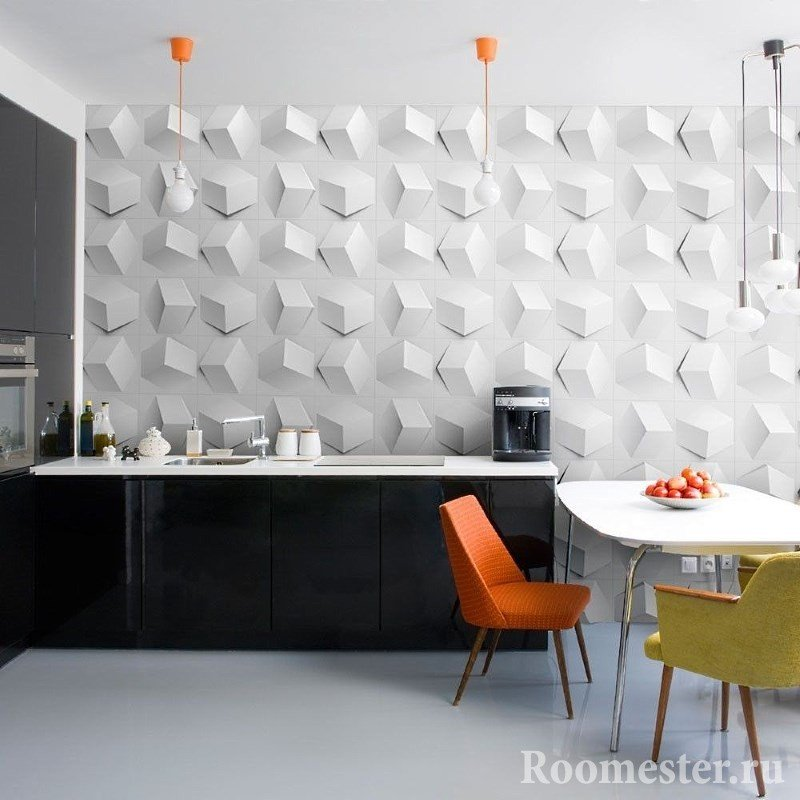 Фартук в кухне из 3д панелей