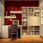 Рабочее место с белой мебелью и бордовой стеной