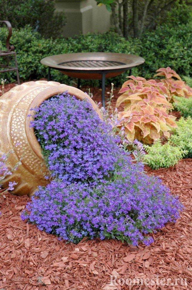 Ручей из цветов из глиняного горшка