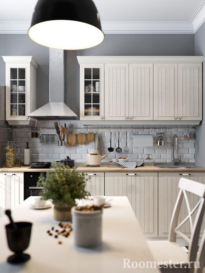 Кухонная мебель по одной стене