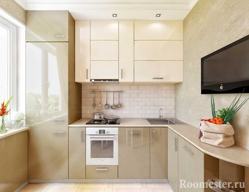 Дизайн кухни с балконом 8 квм с холодильником.