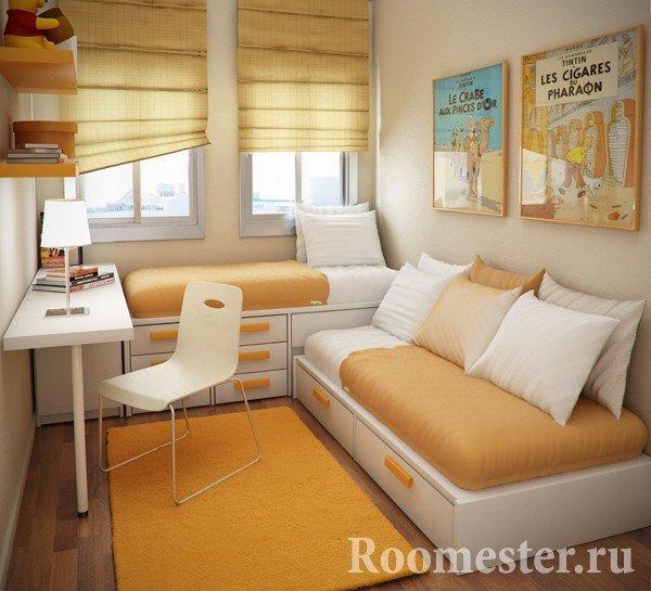 Оранжевые тона в оформлении детской комнаты
