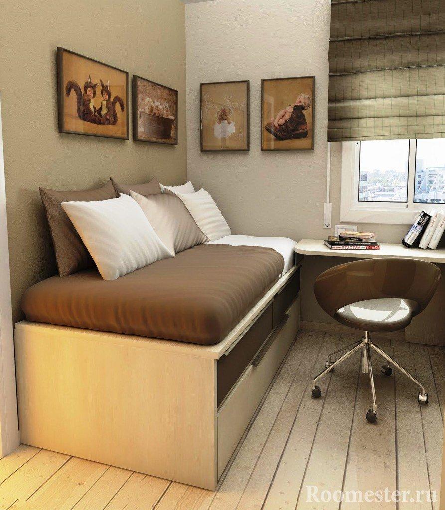 Уютный уголок для сна и рабочее место