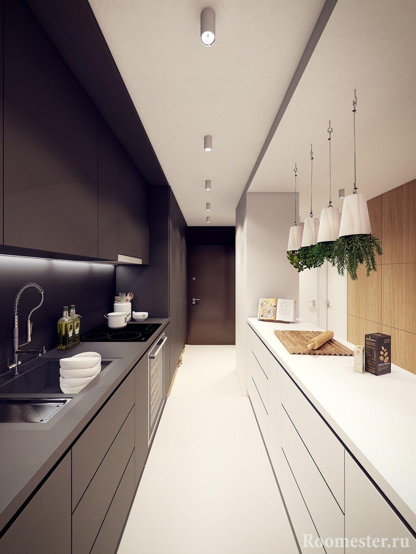 Линейное размещение мебели в кухне