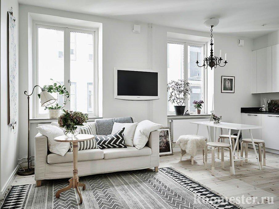 Белый цвет расширяет пространство комнаты