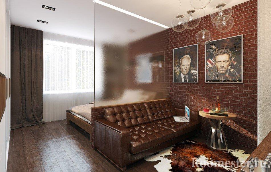 Стеклянная перегородка в гостиной для спального места