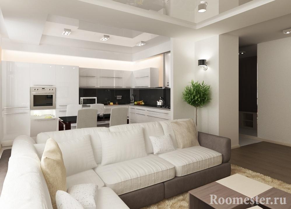 Совмещенная кухня и гостиная в белых тонах