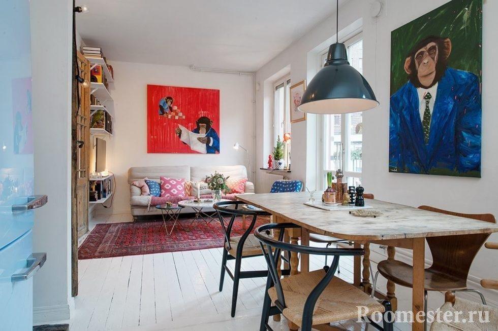 Кухня и гостиная в скандинавском стиле