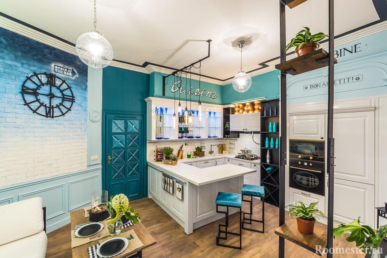 Гостиная с кухней в морском стиле