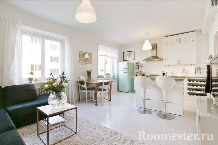 Дизайн кухни и гостиной 20 кв.м.