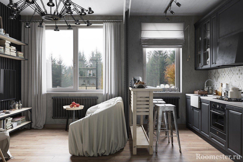Кухня отделяется от гостиной раздвижной перегородкой